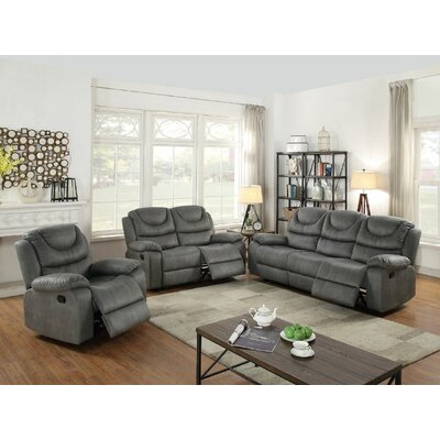 Sunderman Motion 3 Piece Living Room Set Upholstery: Slate Gray