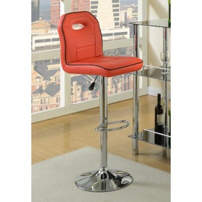 Hershman Adjustable Height Bar Stool Upholstery: Red