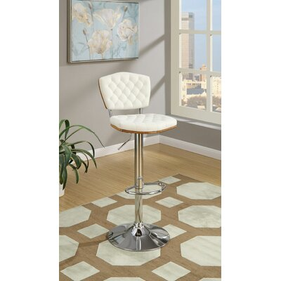 Hertel Adjustable Height Bar Stool Upholstery: White