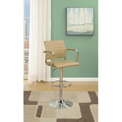 Hertz Adjustable Height Bar Stool Upholstery: Brown