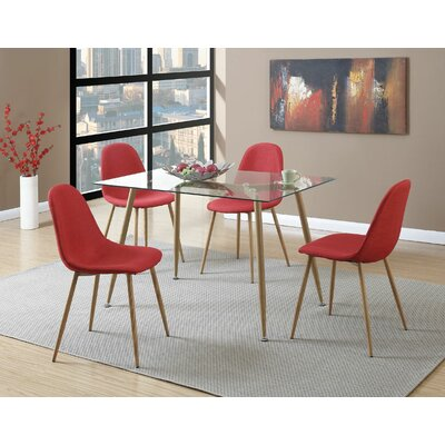Wylie Upholstered Dining Chair Upholstery Color: Red