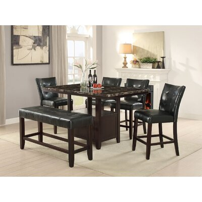 Upper Strode 6 Piece Dining Set Color: Black