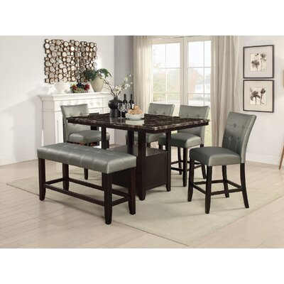 Upper Strode 6 Piece Dining Set Color: Silver