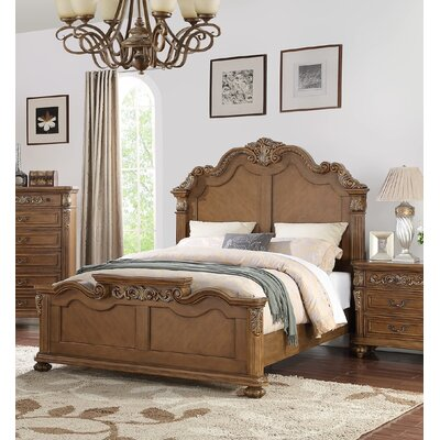 Liao Panel Bed Size: Queen, Color: Brown