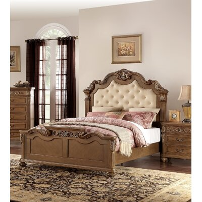 Liao Upholstered Panel Bed Size: Califonia King, Color: Brown