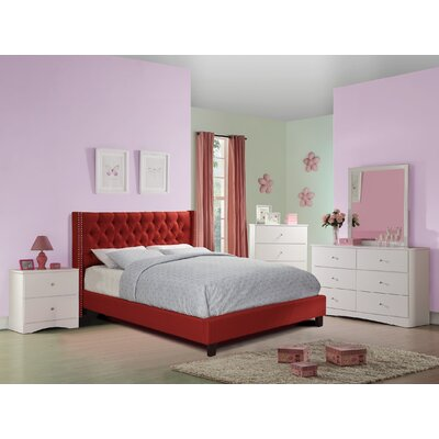 Krueger Upholstered Platform Bed Size: Queen, Color: Carmine