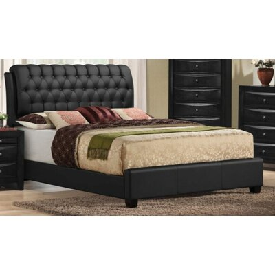 Jane Street Upholstered Panel Bed Color: Black, Size: King