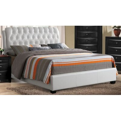 Jane Street Upholstered Panel Bed Color: White, Size: King