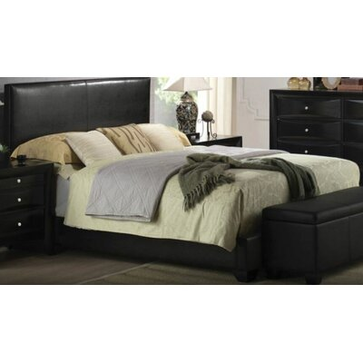 Mccree Upholstered Panel Bed Color: Black, Size: Full