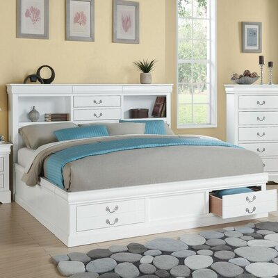 Covertt Platform Bed with Storage Size: King, Color: White