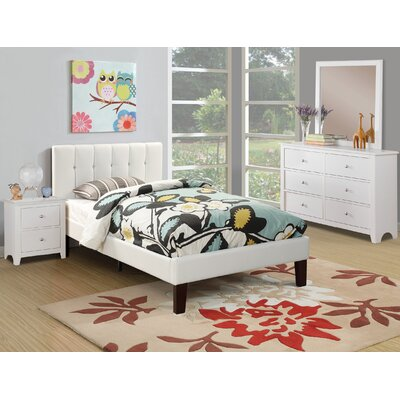 Duque Upholstered Platform Bed Size: Twin, Color: White