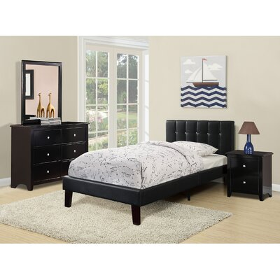 Duque Upholstered Platform Bed Size: Twin, Color: Black