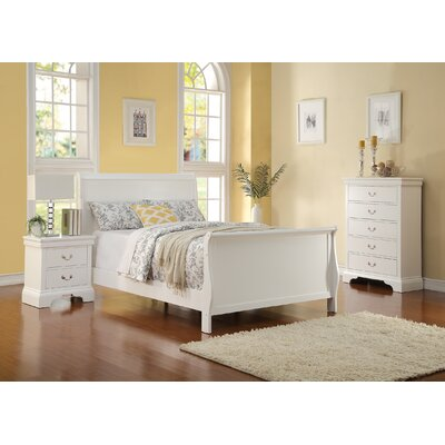 Alvin Sleigh Bed Size: Full, Color: White