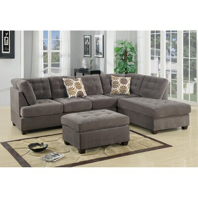 Lukasik Reversible Sectional Upholstery: Charcoal