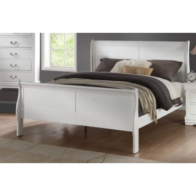 Trafford Sleigh Bed Size: King, Color: White