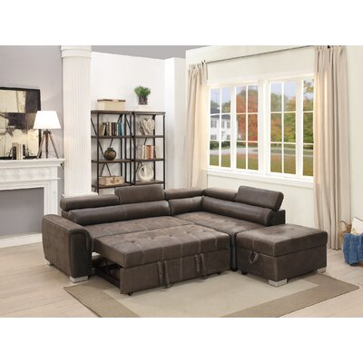 Marrero Sleeper Sectional With Ottoman Upholstery: Dark Coffee