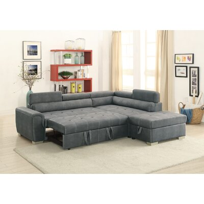 Marrero Sleeper Sectional With Ottoman Upholstery: Slate Gray