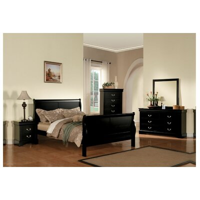 Trafford Sleigh Bed Size: Full, Color: Black