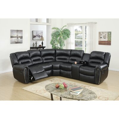Finck Reclining Corner Sectional Upholstery: Black