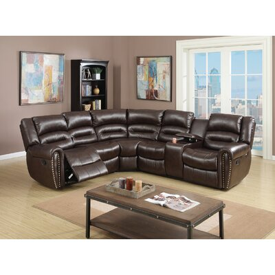 Finck Reclining Corner Sectional Upholstery: Brown
