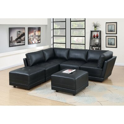 Kleiman 6 Piece Living Room Set Upholstery: Black
