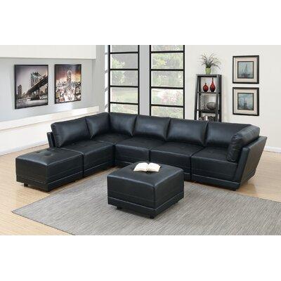 Kleiman 7 Piece Living Room Set Upholstery: Black