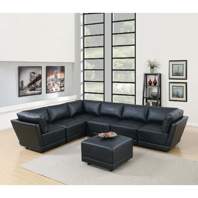 Kleiman 7 Piece Living Room Set Upholstery: Black