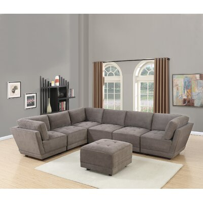 Kleiman 7 Piece Living Room Set Upholstery: Charcoal