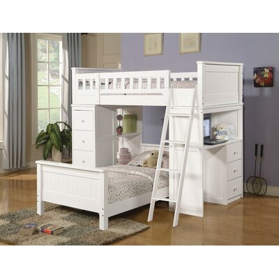 Edgebrooke Twin Over Twin L-Shape Bunk Bed Bed Frame Color: White