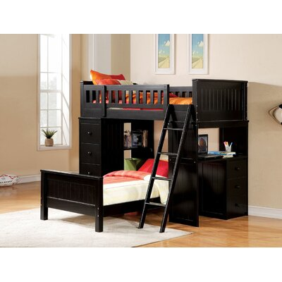 Edgebrooke Twin Over Twin L-Shape Bunk Bed Bed Frame Color: Black