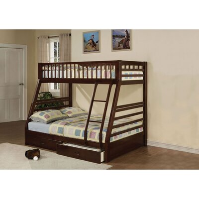 Edgin Twin Over Full Bunk Bed Bed Frame Color: Espresso, Size: Queen