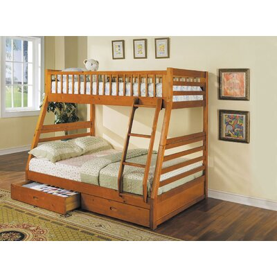 Edgin Twin Over Full Bunk Bed Bed Frame Color: Honey Oak, Size: Twin Over Full