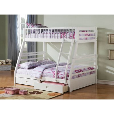 Edgin Twin Over Full Bunk Bed Bed Frame Color: White, Size: Twin Over Full