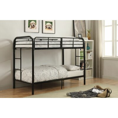 Eddyville Twin Over Twin Bunk Bed Bed Frame Color: Black