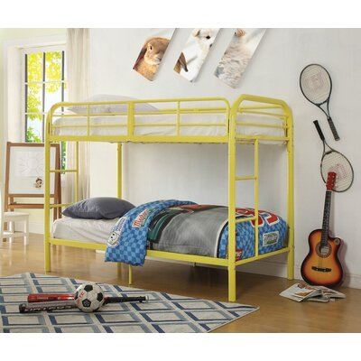 Eddyville Twin Over Twin Bunk Bed Bed Frame Color: Yellow