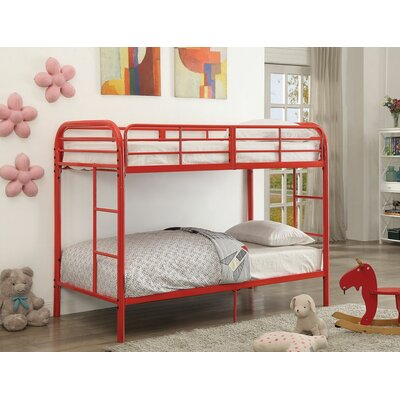 Eddyville Twin Over Twin Bunk Bed Bed Frame Color: Red