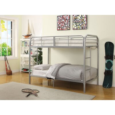Eddyville Twin Over Twin Bunk Bed Bed Frame Color: Silver