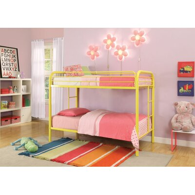 Hiers Twin Over Twin Bunk Bed Bed Frame Color: Yellow