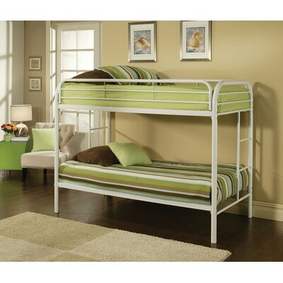 Hiers Twin Over Twin Bunk Bed Bed Frame Color: White