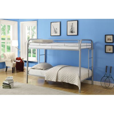 Hiers Twin Over Twin Bunk Bed Bed Frame Color: Silver