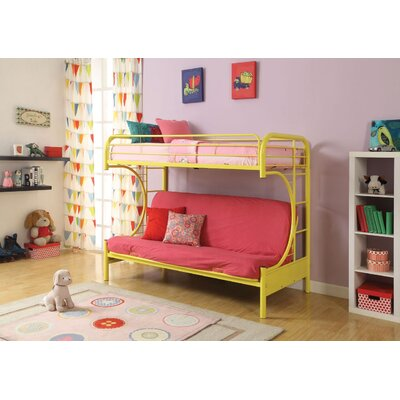 Hiett Twin Over Full Futon Bunk Bed Bed Frame Color: Yellow