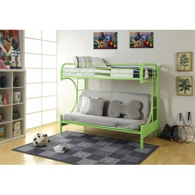 Hiett Twin Over Full Futon Bunk Bed Bed Frame Color: Green