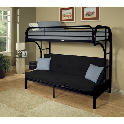 Hiett Twin Over Full Futon Bunk Bed Bed Frame Color: Black