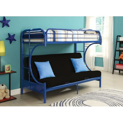 Hiett Twin Over Full Futon Bunk Bed Bed Frame Color: Blue
