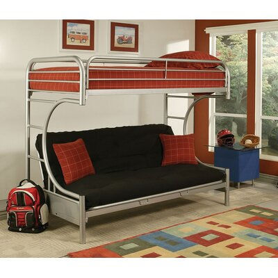 Hiett Twin Over Full Futon Bunk Bed Bed Frame Color: Silver