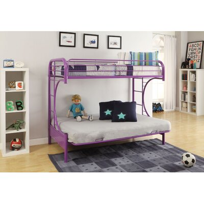 Hiett Twin Over Full Futon Bunk Bed Bed Frame Color: Purple