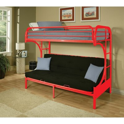 Hiett Twin Over Full Futon Bunk Bed Bed Frame Color: Red