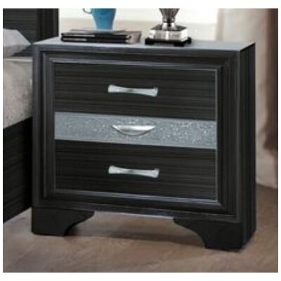 Hawker 3 Drawer Nightstand Color: Black