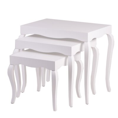 Victor 3 Piece Nesting Tables Color: White