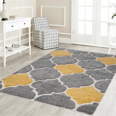 Artz Rectangle Gray/Yellow Area Rug